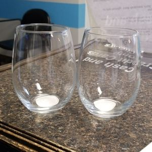 Wine glass with decal